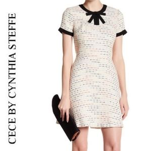 CeCe Poppy cream/multicolored tweed dress with bow
